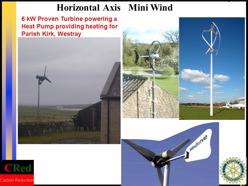 CRed Carbon Reduction 27 6 kW Proven Turbine powering a Heat Pump providing heating for Parish Kirk, Westray Horizontal Axis Mini Wind