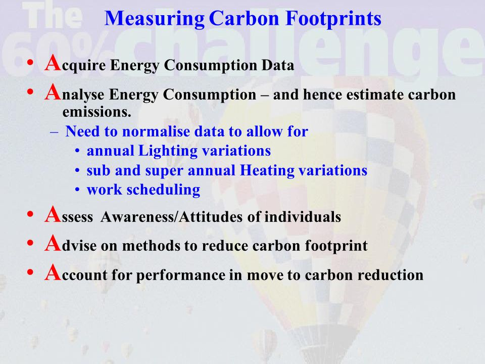 Measuring Carbon Footprints A cquire Energy Consumption Data A nalyse Energy Consumption – and hence estimate carbon emissions.