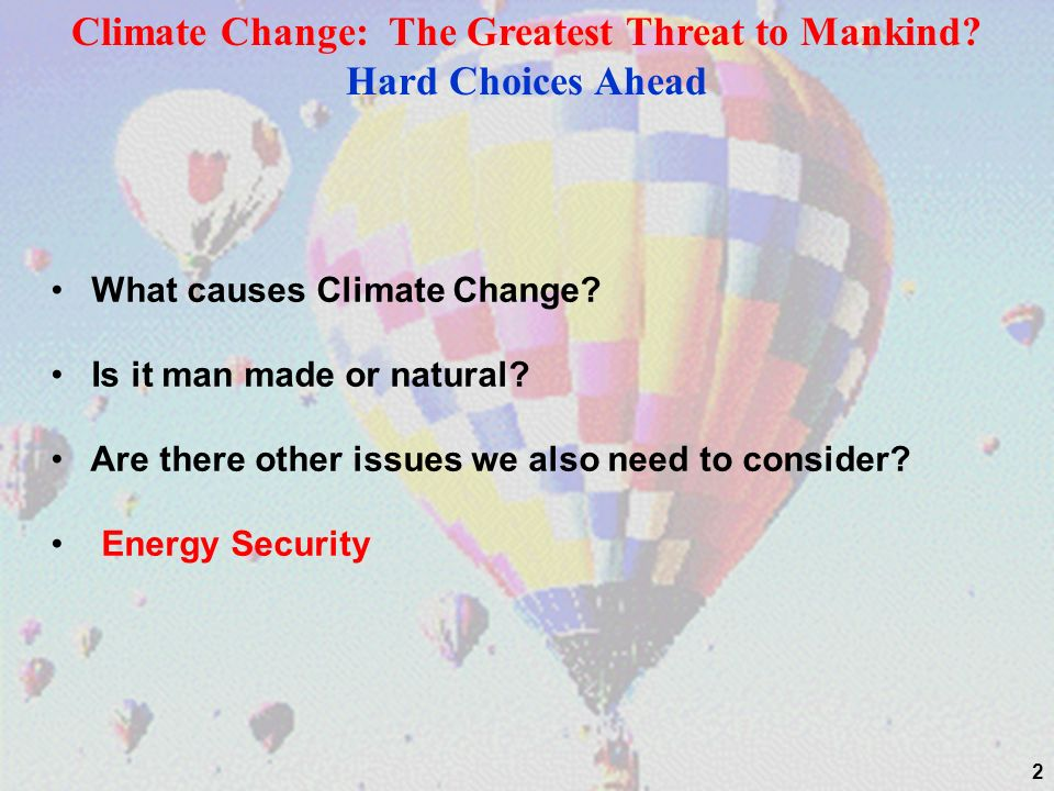 2 What causes Climate Change. Is it man made or natural.