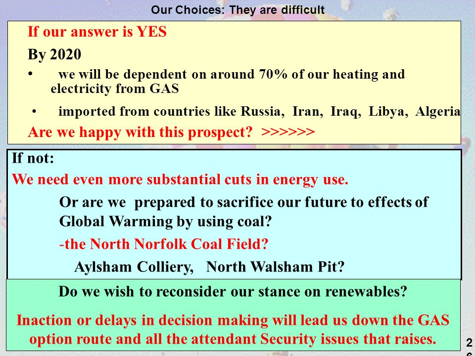 26 Our Choices: They are difficult If our answer is YES By 2020 we will be dependent on around 70% of our heating and electricity from GAS imported from countries like Russia, Iran, Iraq, Libya, Algeria Are we happy with this prospect.