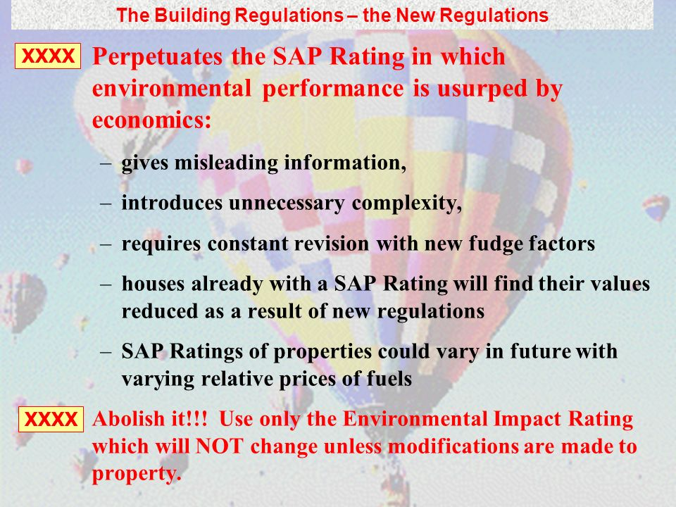 Perpetuates the SAP Rating in which environmental performance is usurped by economics: –gives misleading information, –introduces unnecessary complexi