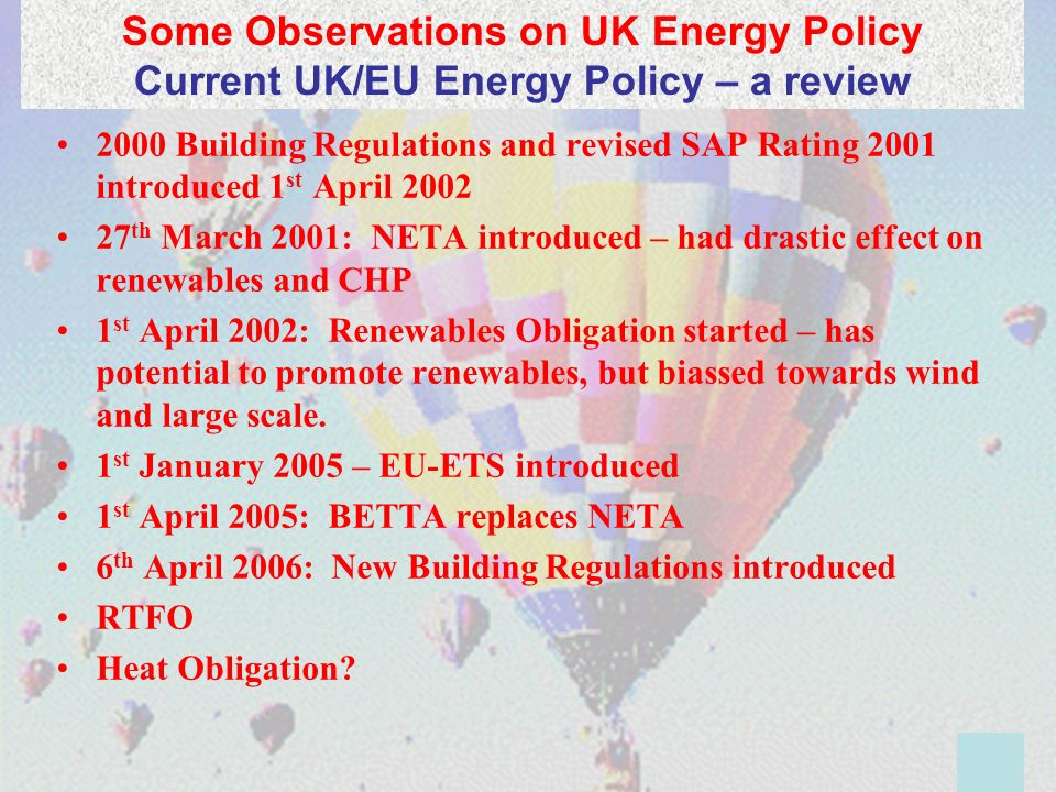 2000 Building Regulations and revised SAP Rating 2001 introduced 1 st April 2002 27 th March 2001: NETA introduced – had drastic effect on renewables