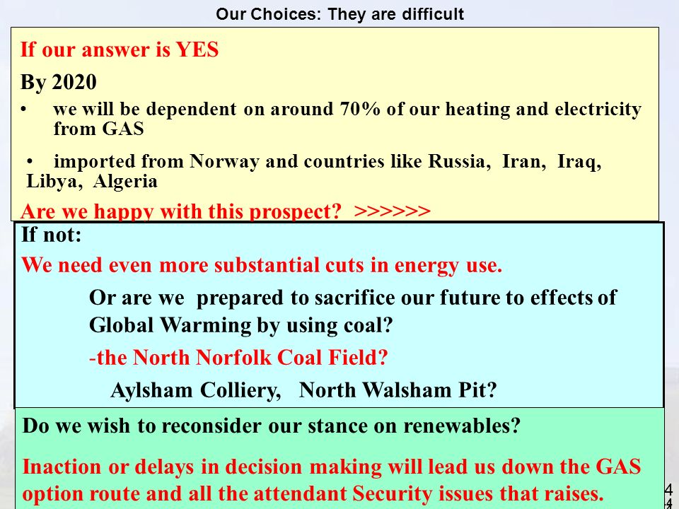 44 44 Our Choices: They are difficult If our answer is YES By 2020 we will be dependent on around 70% of our heating and electricity from GAS imported from Norway and countries like Russia, Iran, Iraq, Libya, Algeria Are we happy with this prospect.