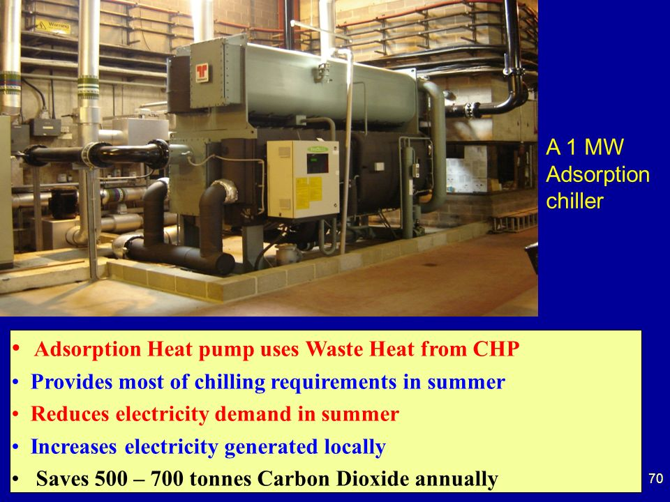 70 A 1 MW Adsorption chiller Adsorption Heat pump uses Waste Heat from CHP Provides most of chilling requirements in summer Reduces electricity demand in summer Increases electricity generated locally Saves 500 – 700 tonnes Carbon Dioxide annually