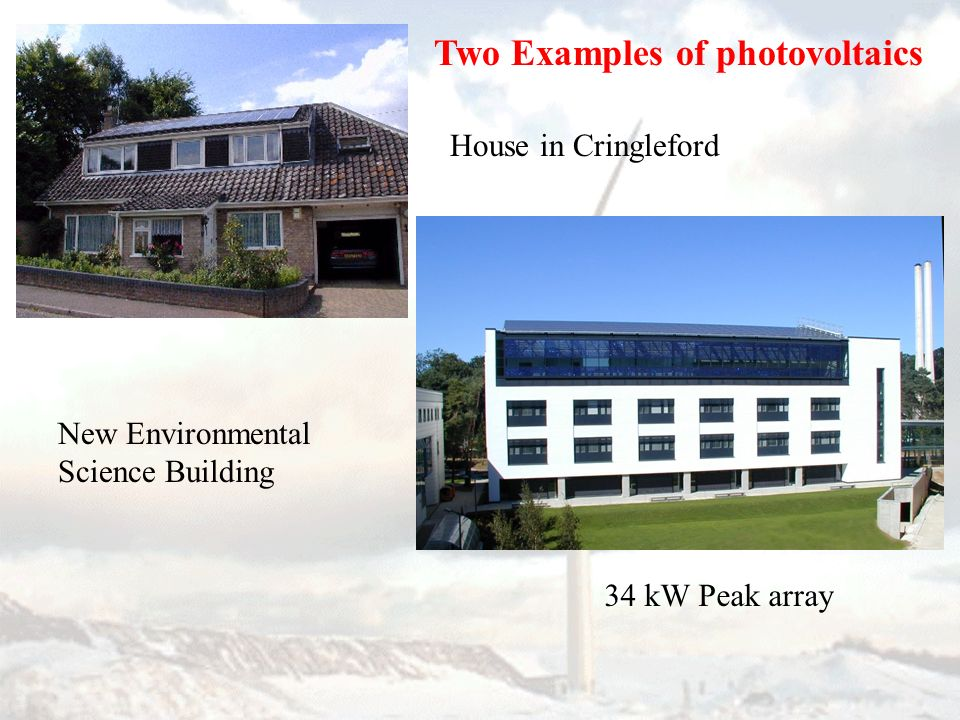 Two Examples of photovoltaics House in Cringleford New Environmental Science Building 34 kW Peak array