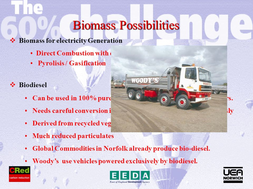 Biomass Possibilities Biomass for electricity Generation Biodiesel Direct Combustion with or without CHP Pyrolisis / Gasification Can be used in 100% pure form in all diesels built in last 5 + years.