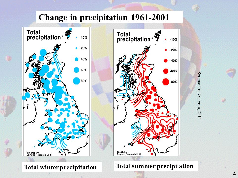 4 Total winter precipitation Total summer precipitation Source: Tim Osborne, CRU Change in precipitation 1961-2001