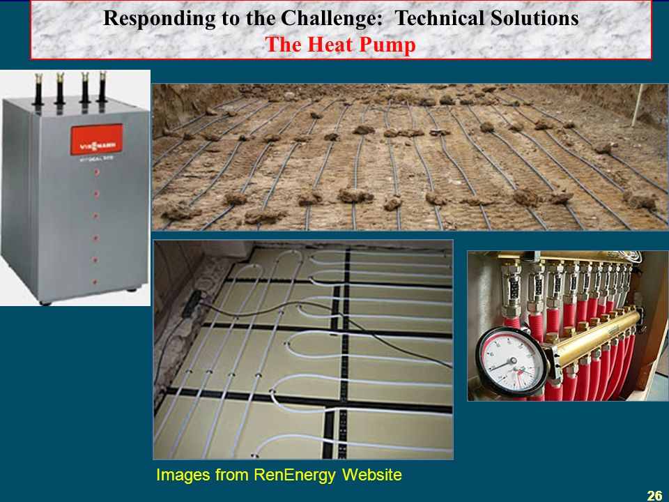 26 Responding to the Challenge: Technical Solutions The Heat Pump Images from RenEnergy Website