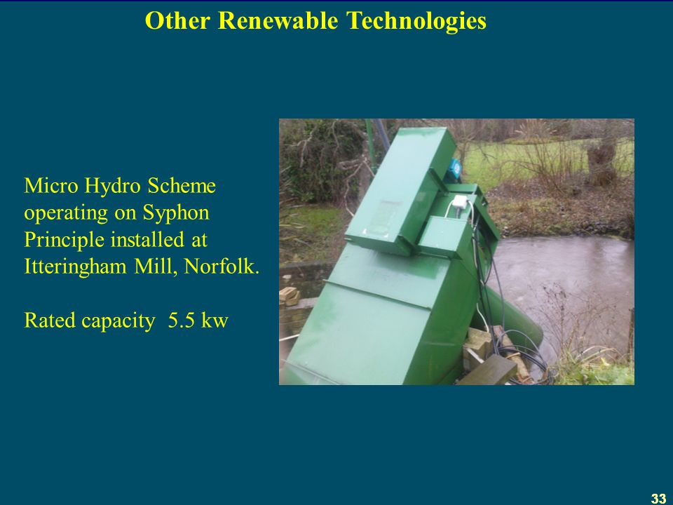 33 Micro Hydro Scheme operating on Syphon Principle installed at Itteringham Mill, Norfolk.