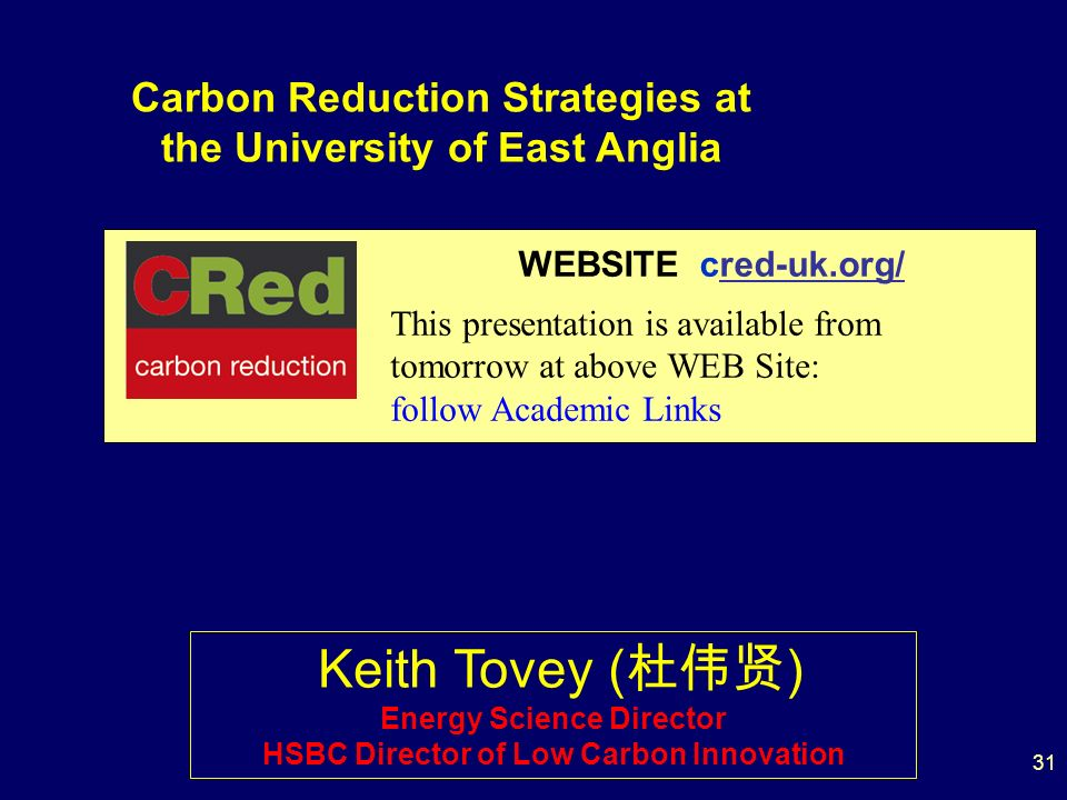 31 WEBSITE cred-uk.org/ This presentation is available from tomorrow at above WEB Site: follow Academic Links Keith Tovey ( ) Energy Science Director HSBC Director of Low Carbon Innovation Carbon Reduction Strategies at the University of East Anglia