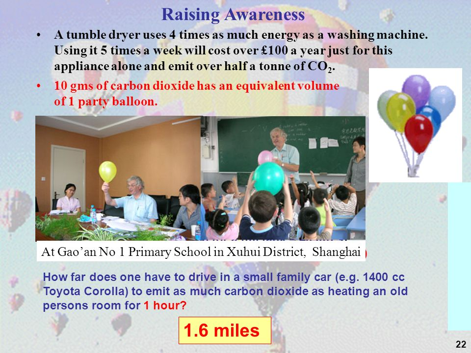 22 Raising Awareness A tumble dryer uses 4 times as much energy as a washing machine.
