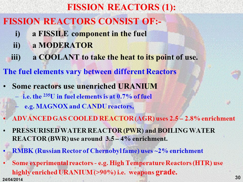 29 NUCLEAR POWER Background Introduction 1.Nature of Radioactivity 2.Fission Reactors a)General Introduction b)MAGNOX Reactors c)AGR Reactors d)CANDU Reactors e)PWRs f)BWRs g)RMBK/ LWGRs h)FBRs i)Generation 3 Reactors j)Generation 3+ Reactors 3.Nuclear Fuel Cycle 4.Fusion Reactors 5.Radiation and Man