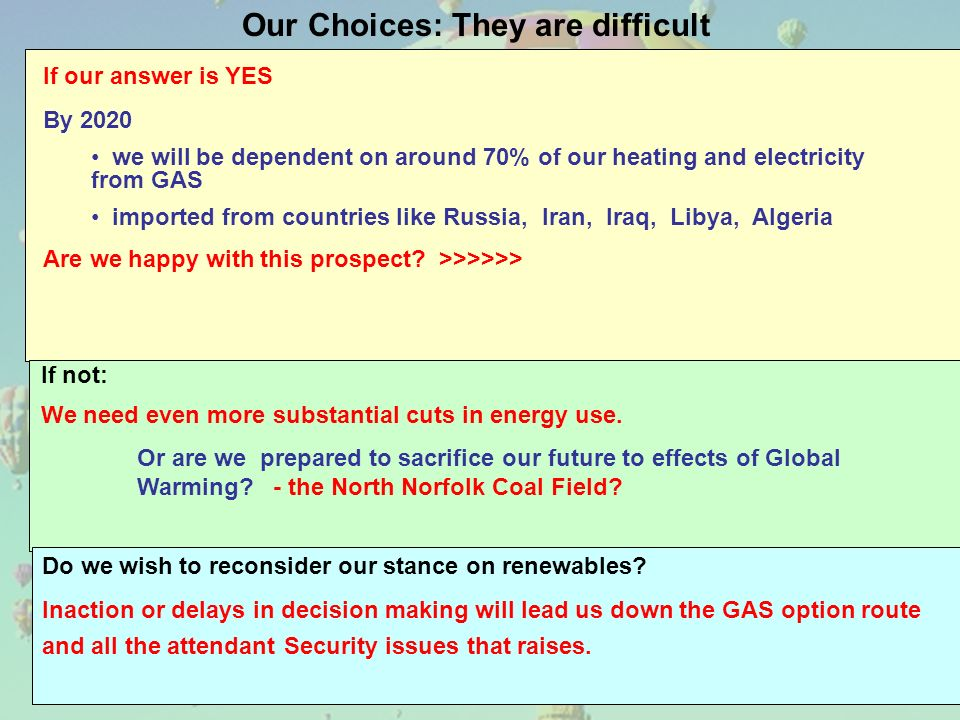Our Choices: They are difficult If our answer is YES By 2020 we will be dependent on around 70% of our heating and electricity from GAS imported from countries like Russia, Iran, Iraq, Libya, Algeria Are we happy with this prospect.