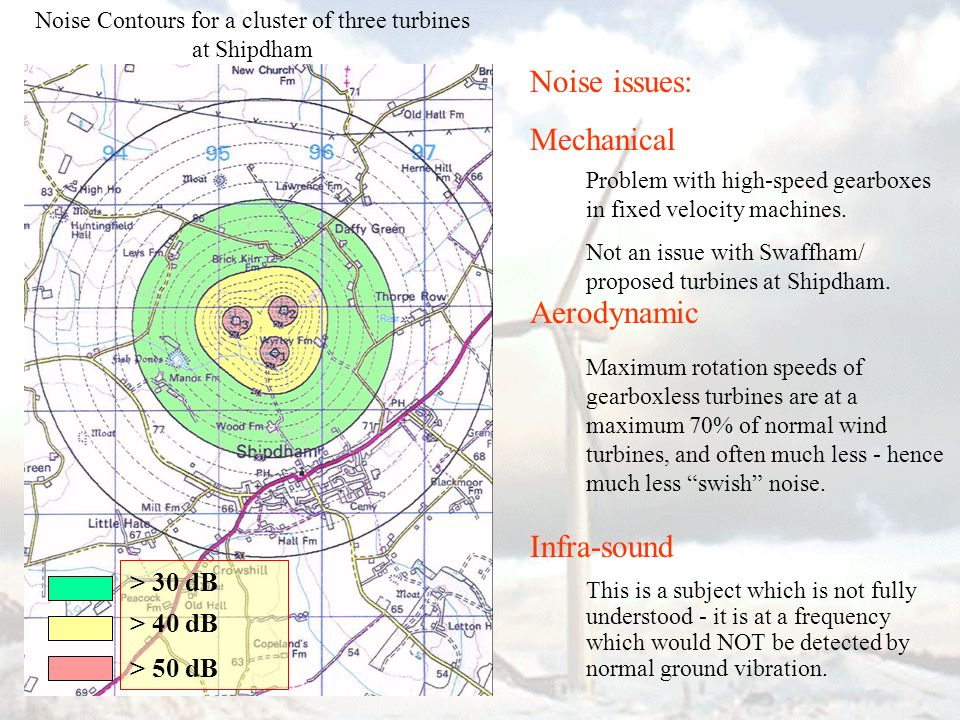 Noise issues: Mechanical Aerodynamic Infra-sound Problem with high-speed gearboxes in fixed velocity machines. Not an issue with Swaffham/ proposed tu
