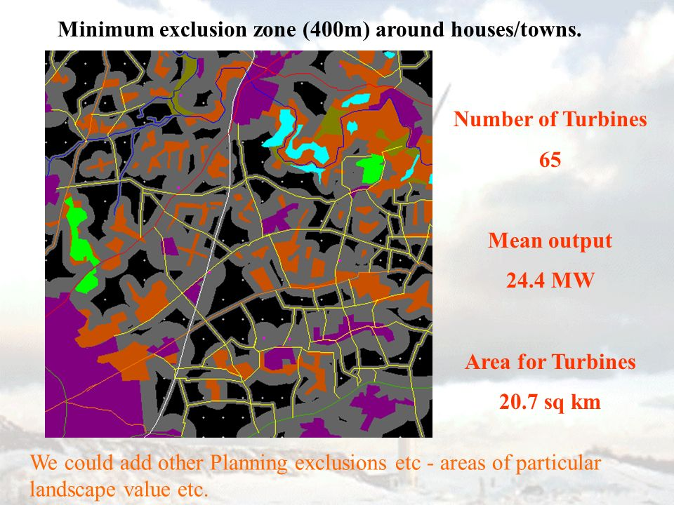 Number of Turbines 65 Mean output 24.4 MW Area for Turbines 20.7 sq km Minimum exclusion zone (400m) around houses/towns.