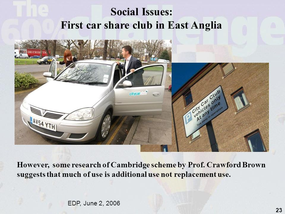 Social Issues: First car share club in East Anglia EDP, June 2, 2006 However, some research of Cambridge scheme by Prof.
