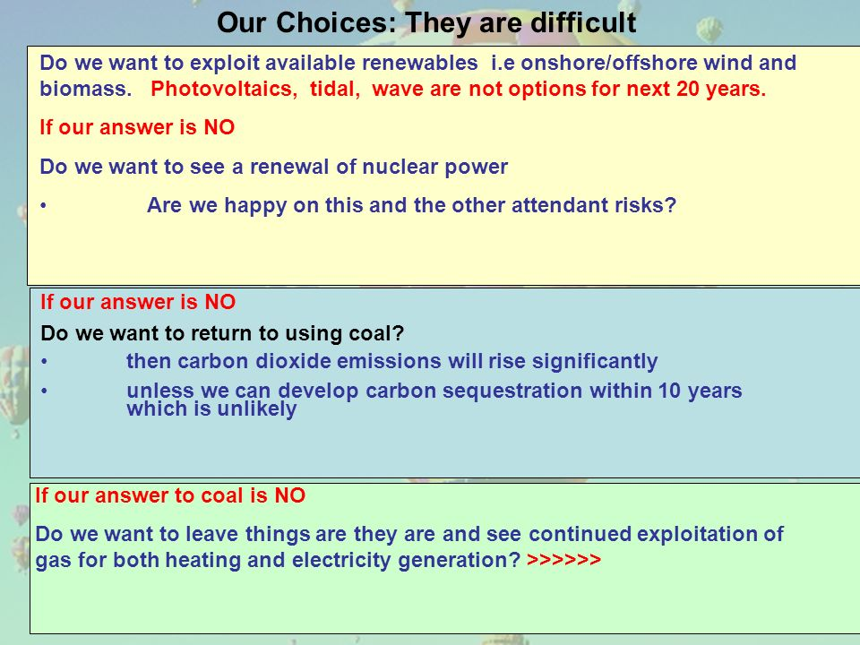 Our Choices: They are difficult If our answer is NO Do we want to return to using coal.