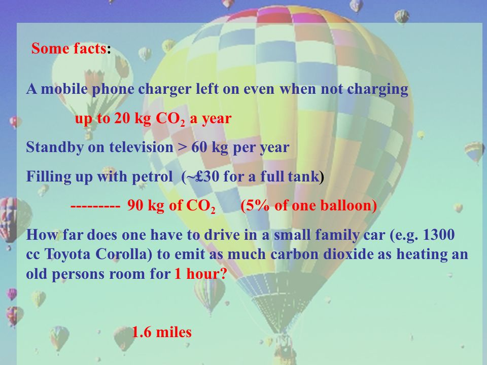 Some facts: A mobile phone charger left on even when not charging up to 20 kg CO 2 a year Standby on television > 60 kg per year Filling up with petrol (~£30 for a full tank) --------- 90 kg of CO 2 (5% of one balloon) How far does one have to drive in a small family car (e.g.