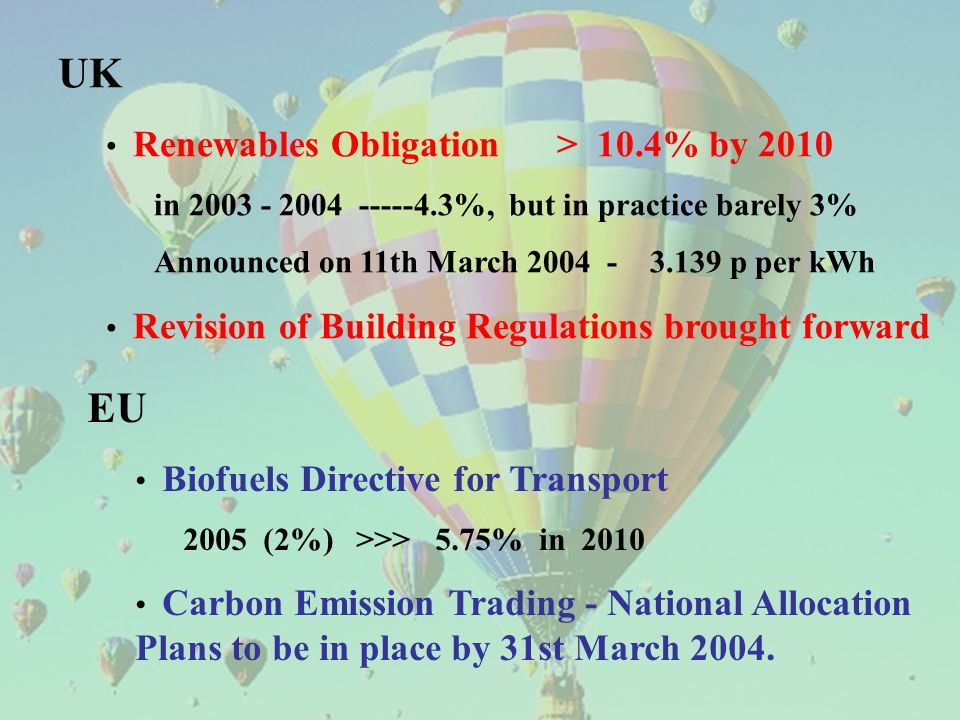 UK Renewables Obligation > 10.4% by 2010 in 2003 - 2004 -----4.3%, but in practice barely 3% Announced on 11th March 2004 - 3.139 p per kWh Revision of Building Regulations brought forward EU Biofuels Directive for Transport 2005 (2%) >>> 5.75% in 2010 Carbon Emission Trading - National Allocation Plans to be in place by 31st March 2004.