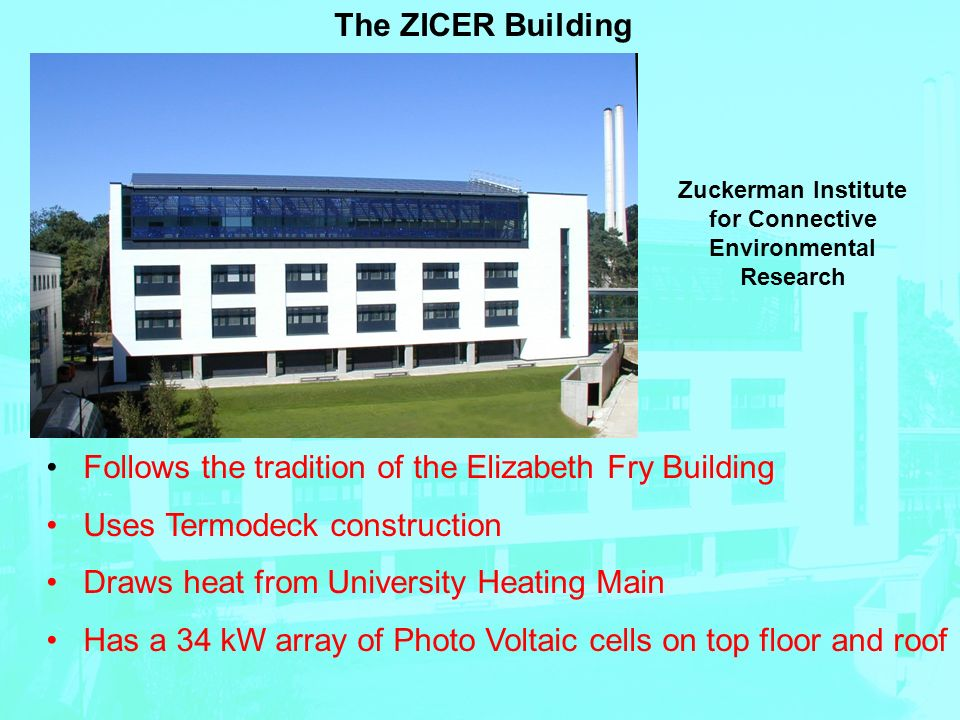 The ZICER Building Follows the tradition of the Elizabeth Fry Building Uses Termodeck construction Draws heat from University Heating Main Has a 34 kW array of Photo Voltaic cells on top floor and roof Zuckerman Institute for Connective Environmental Research