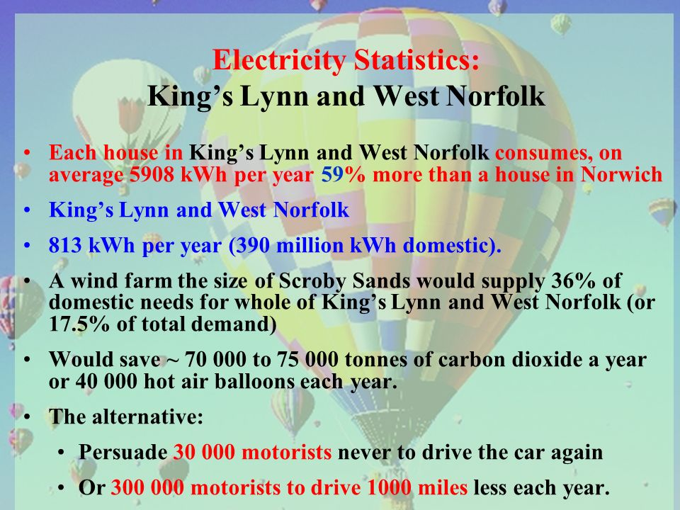 Electricity Statistics: Kings Lynn and West Norfolk Each house in Kings Lynn and West Norfolk consumes, on average 5908 kWh per year 59% more than a house in Norwich Kings Lynn and West Norfolk 813 kWh per year (390 million kWh domestic).