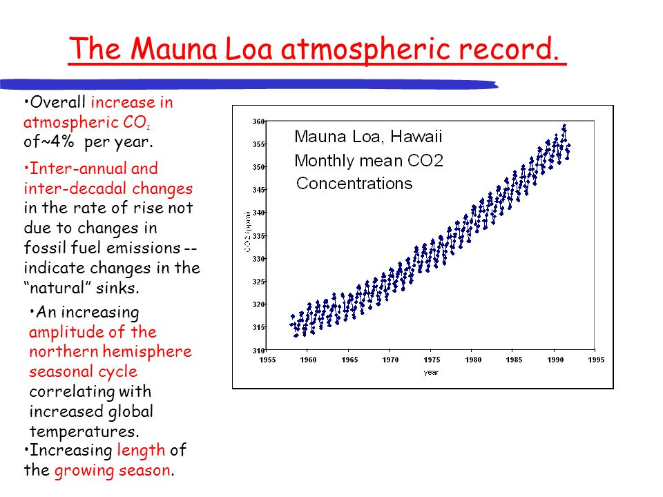 The Mauna Loa atmospheric record. Overall increase in atmospheric CO 2 of~4% per year. Inter-annual and inter-decadal changes in the rate of rise not
