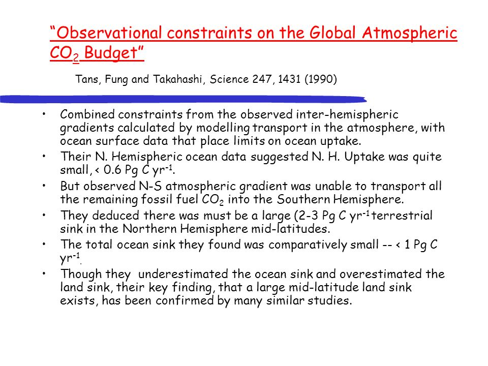Observational constraints on the Global Atmospheric CO 2 Budget Tans, Fung and Takahashi, Science 247, 1431 (1990) Combined constraints from the observed inter-hemispheric gradients calculated by modelling transport in the atmosphere, with ocean surface data that place limits on ocean uptake.