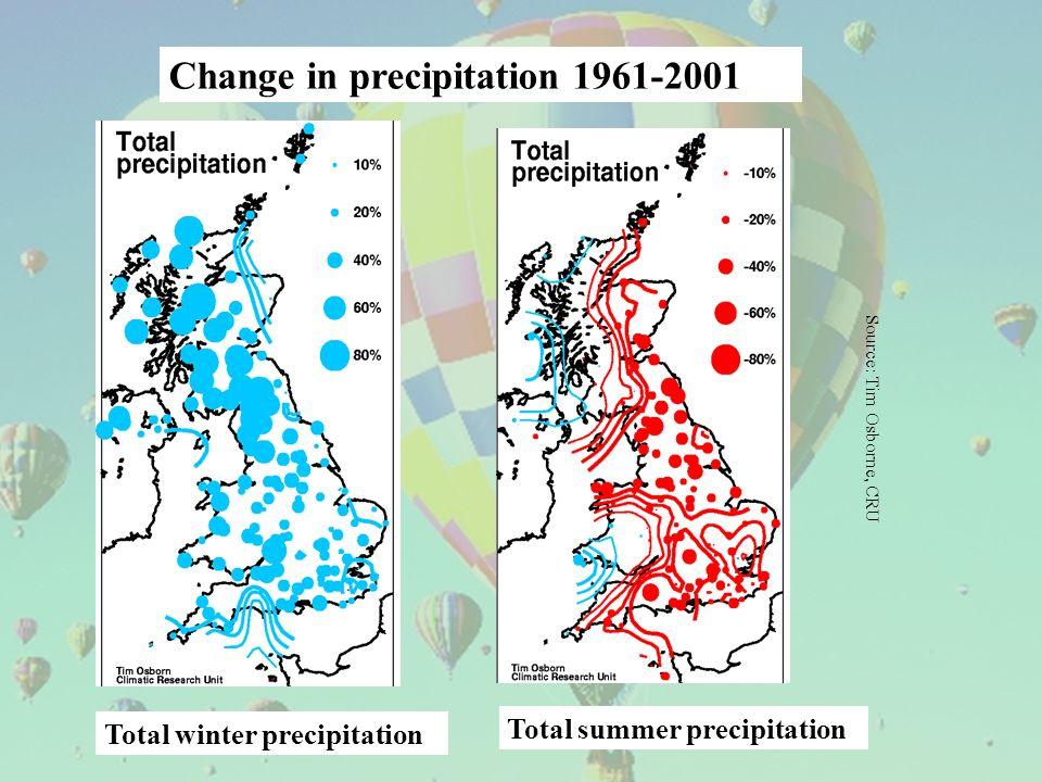 Total winter precipitation Total summer precipitation Source: Tim Osborne, CRU Change in precipitation 1961-2001