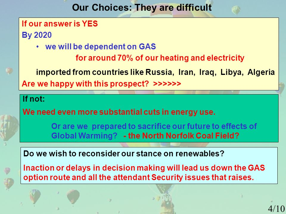 Our Choices: They are difficult If our answer is YES By 2020 we will be dependent on GAS for around 70% of our heating and electricity imported from countries like Russia, Iran, Iraq, Libya, Algeria Are we happy with this prospect.