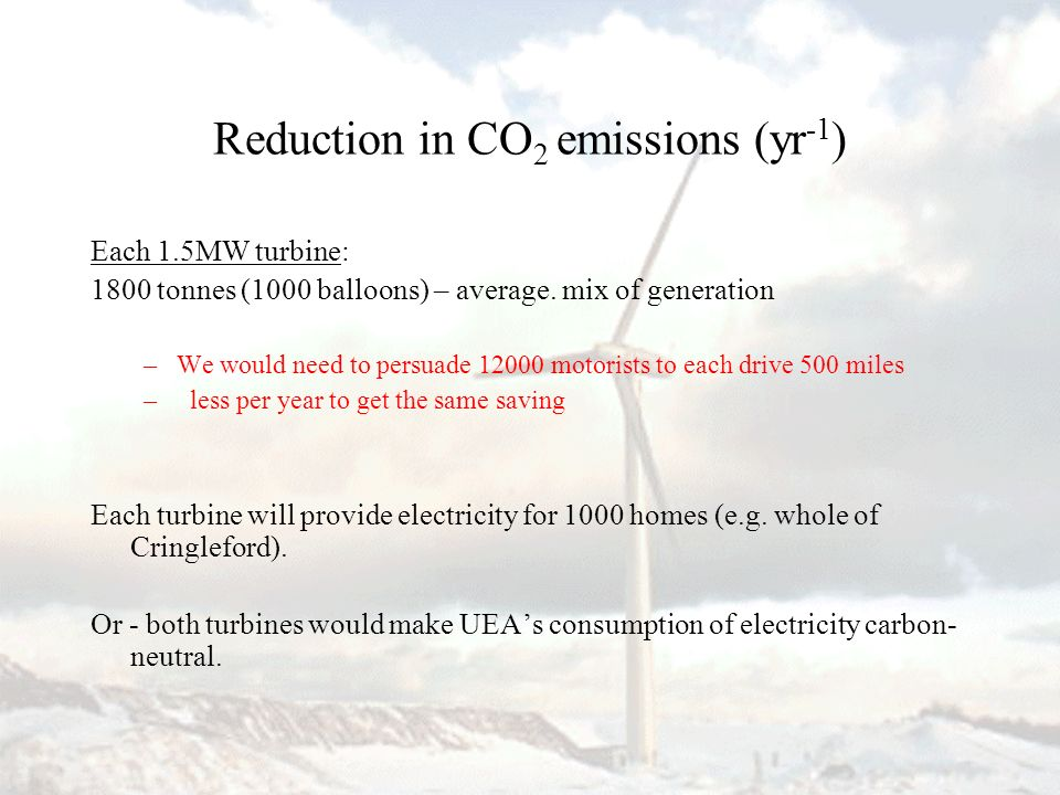 Reduction in CO 2 emissions (yr -1 ) Each 1.5MW turbine: 1800 tonnes (1000 balloons) – average. mix of generation –We would need to persuade 12000 mot