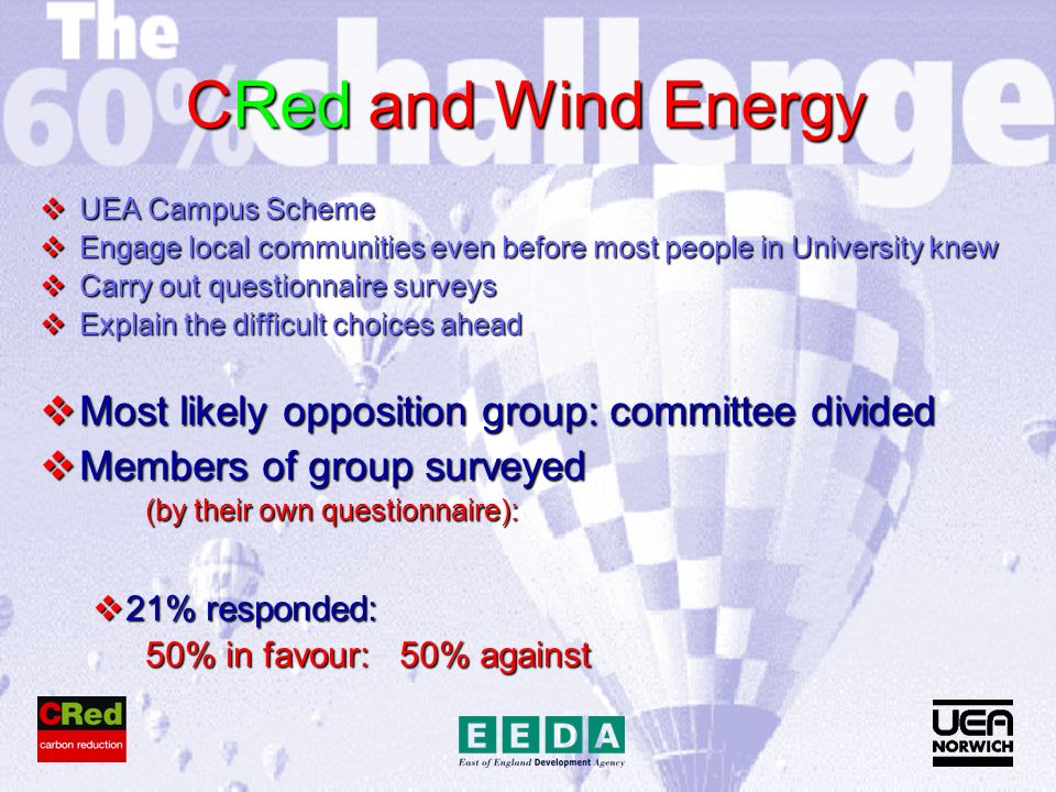 CRed and Wind Energy UEA Campus Scheme UEA Campus Scheme Engage local communities even before most people in University knew Engage local communities