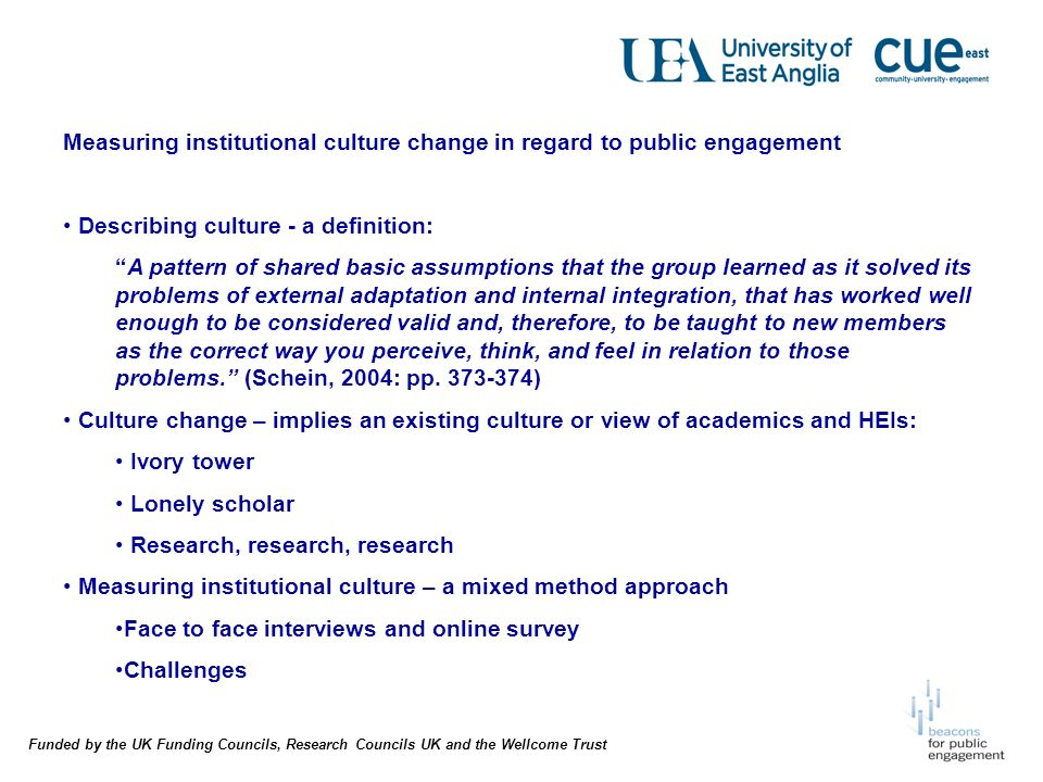 Funded by the UK Funding Councils, Research Councils UK and the Wellcome Trust Measuring institutional culture change in regard to public engagement Describing culture - a definition: A pattern of shared basic assumptions that the group learned as it solved its problems of external adaptation and internal integration, that has worked well enough to be considered valid and, therefore, to be taught to new members as the correct way you perceive, think, and feel in relation to those problems.