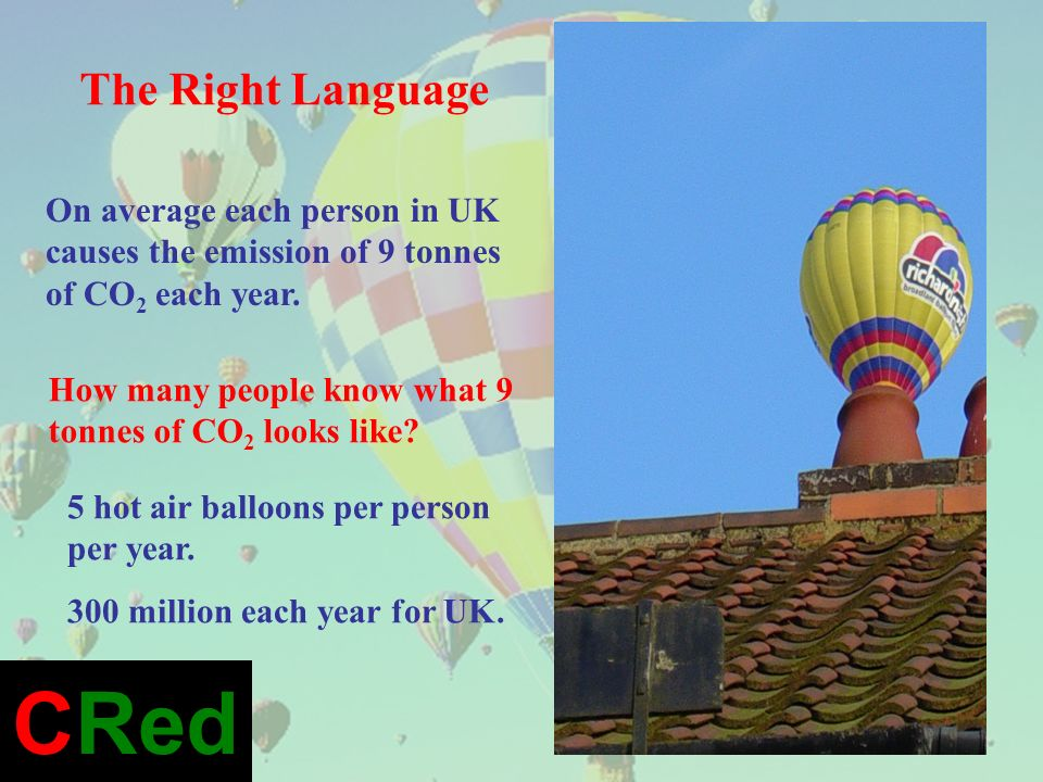 How many people know what 9 tonnes of CO 2 looks like? 5 hot air balloons per person per year. 300 million each year for UK. On average each person in