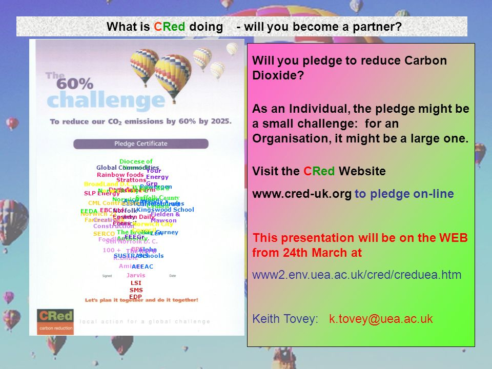 What is CRed doing - will you become a partner? Will you pledge to reduce Carbon Dioxide? As an Individual, the pledge might be a small challenge: for