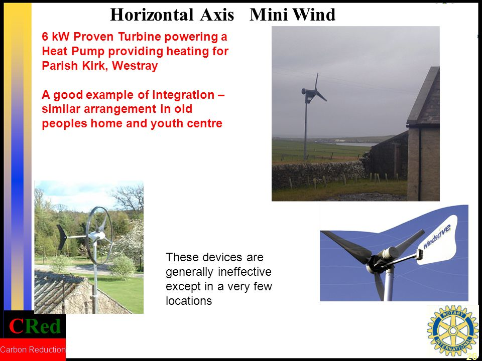CRed Carbon Reduction 26 6 kW Proven Turbine powering a Heat Pump providing heating for Parish Kirk, Westray A good example of integration – similar arrangement in old peoples home and youth centre Horizontal Axis Mini Wind These devices are generally ineffective except in a very few locations