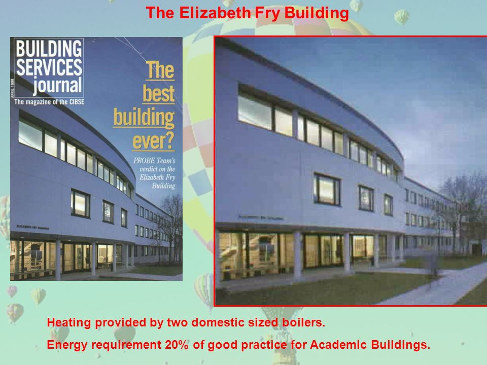 The Elizabeth Fry Building Heating provided by two domestic sized boilers.