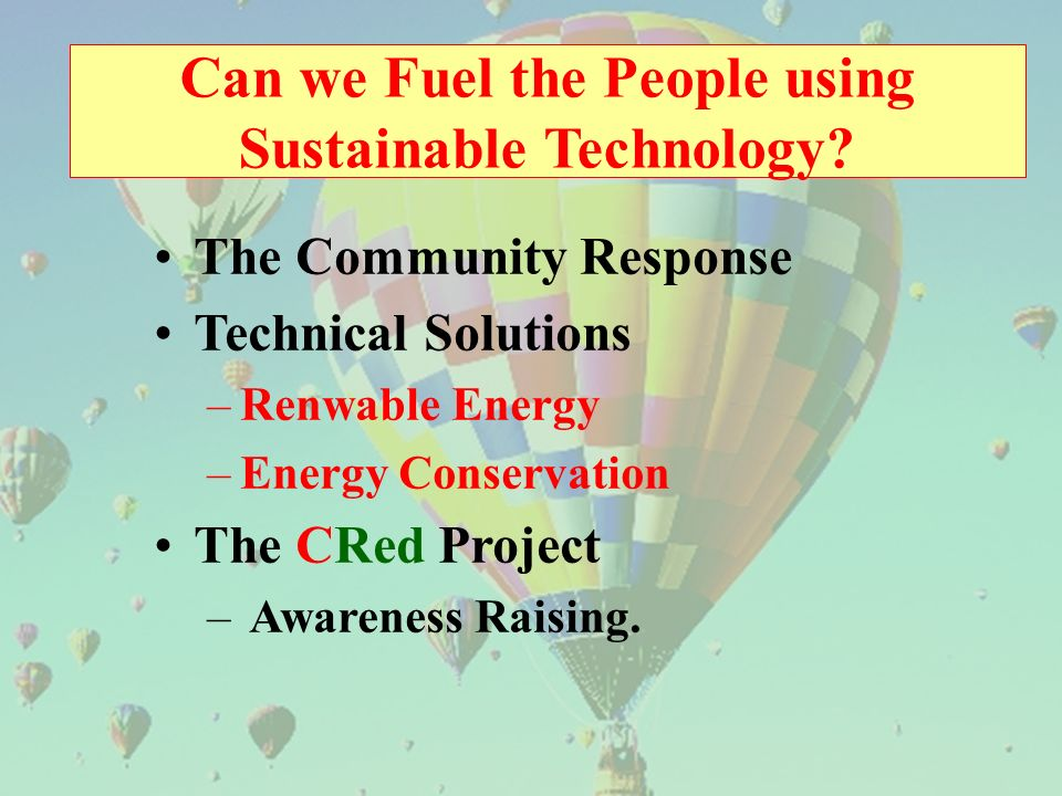 Can we Fuel the People using Sustainable Technology.