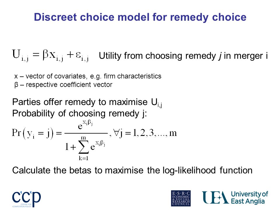 Discreet choice model for remedy choice Utility from choosing remedy j in merger i x – vector of covariates, e.g. firm characteristics β – respective