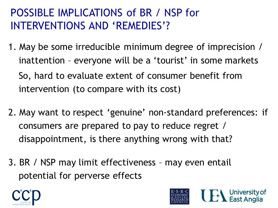 POSSIBLE IMPLICATIONS of BR / NSP for INTERVENTIONS AND REMEDIES.