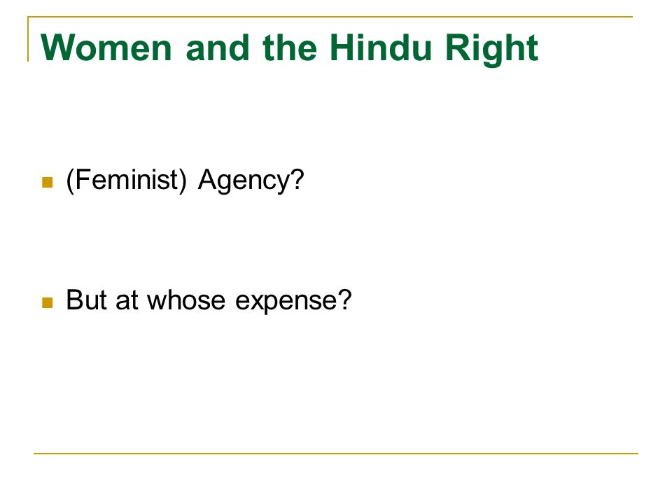 (Feminist) Agency? But at whose expense?