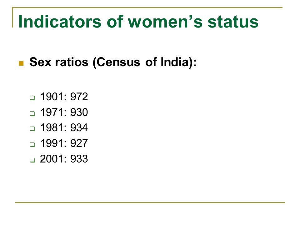 Indicators of womens status Sex ratios (Census of India): 1901: 972 1971: 930 1981: 934 1991: 927 2001: 933
