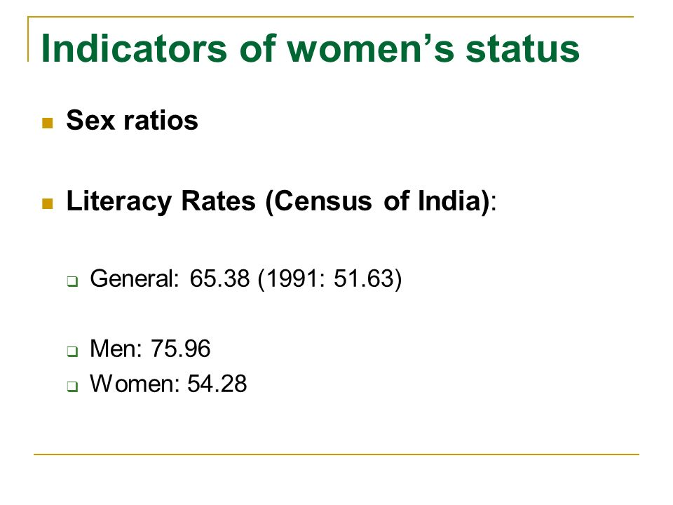 Indicators of womens status Sex ratios Literacy Rates Womens labour market participation Womens (lack of) property rights