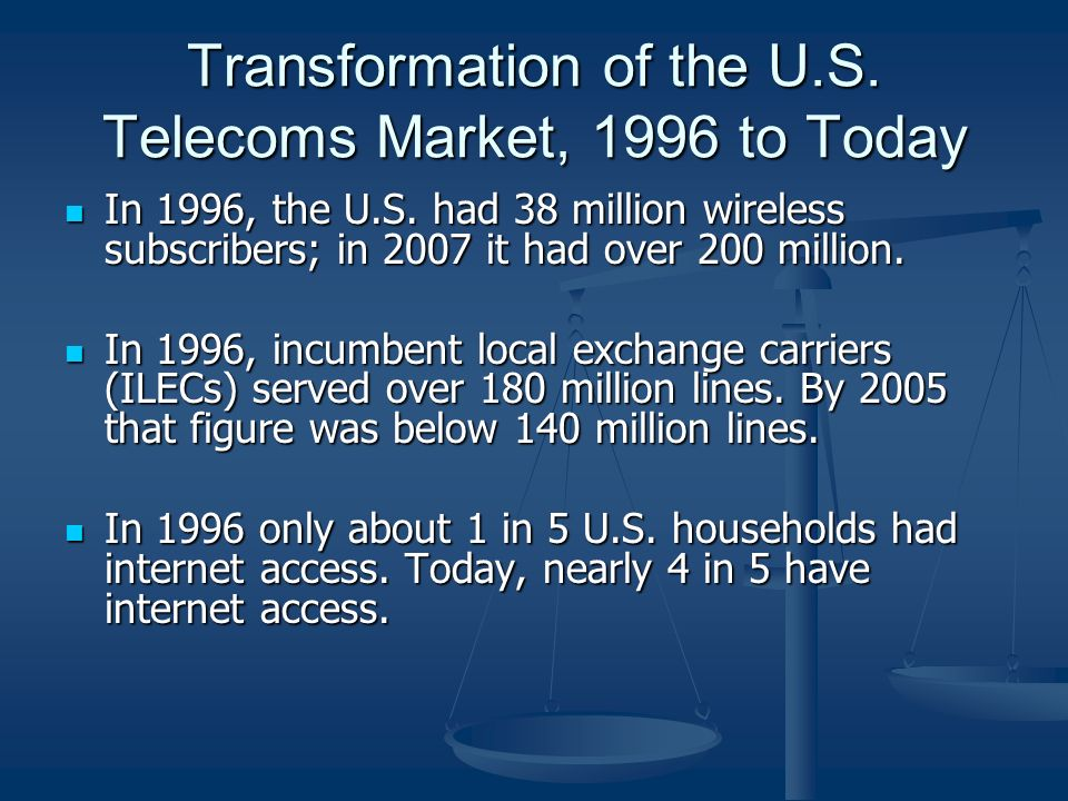Transformation of the U.S. Telecoms Market, 1996 to Today In 1996, the U.S.