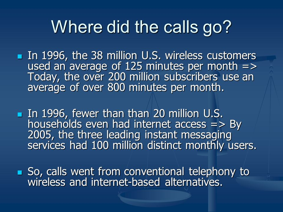 Where did the calls go. In 1996, the 38 million U.S.