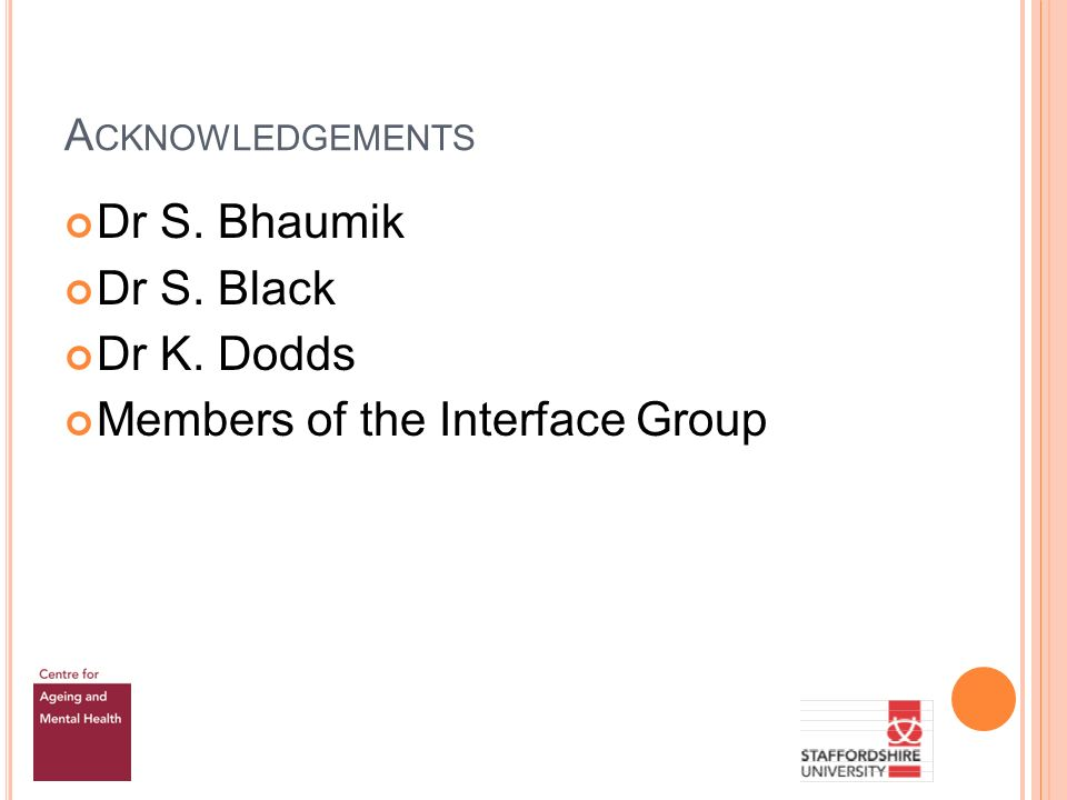 A CKNOWLEDGEMENTS Dr S. Bhaumik Dr S. Black Dr K. Dodds Members of the Interface Group