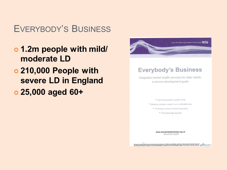 E VERYBODY S B USINESS 1.2m people with mild/ moderate LD 210,000 People with severe LD in England 25,000 aged 60+