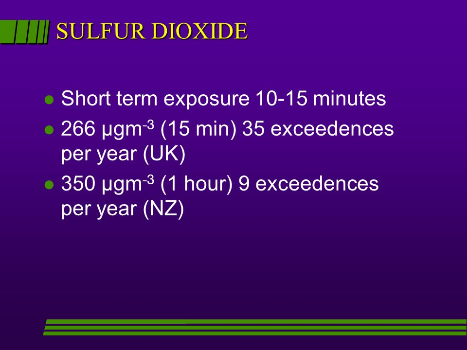 SULFUR DIOXIDE l Short term exposure minutes l 266 µgm -3 (15 min) 35 exceedences per year (UK) l 350 µgm -3 (1 hour) 9 exceedences per year (NZ)