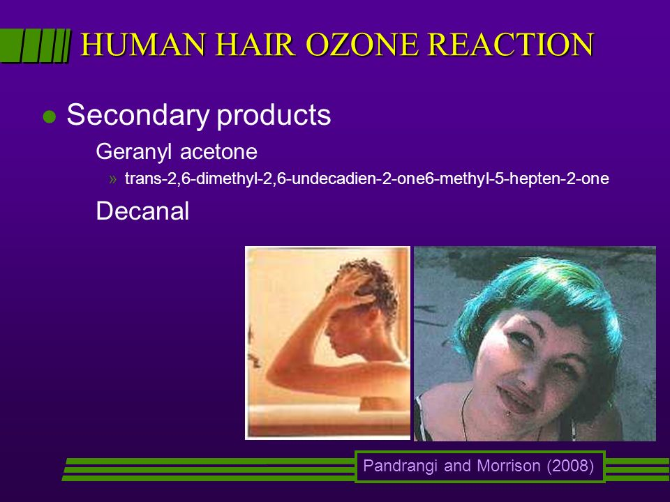 HUMAN HAIR OZONE REACTION l Secondary products Geranyl acetone »trans-2,6-dimethyl-2,6-undecadien-2-one6-methyl-5-hepten-2-one Decanal Pandrangi and Morrison (2008)