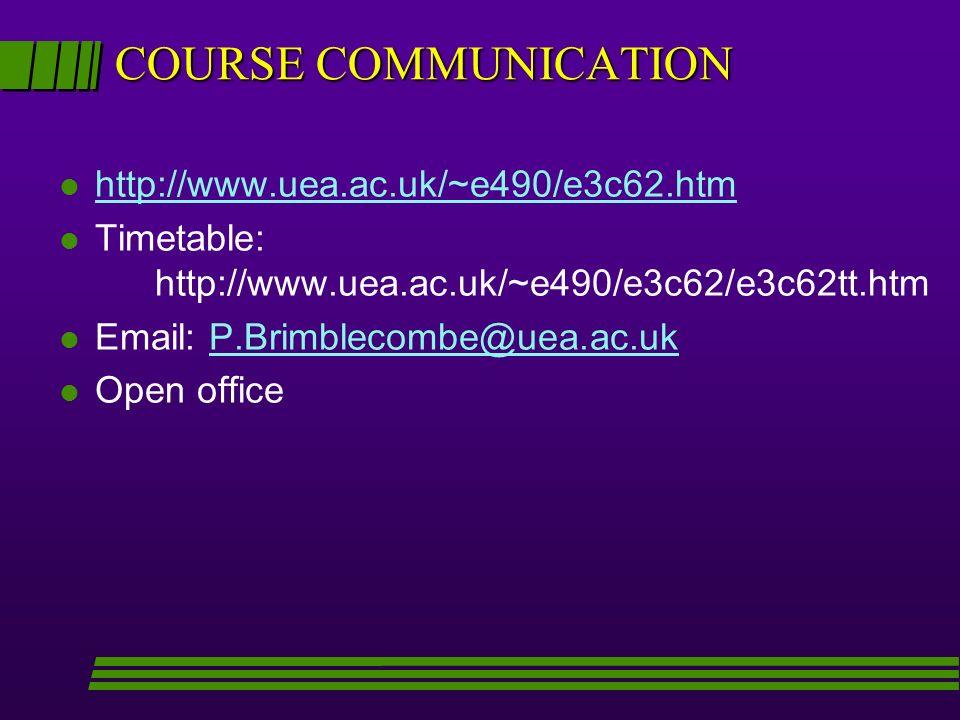 COURSE COMMUNICATION l http://www.uea.ac.uk/~e490/e3c62.htm http://www.uea.ac.uk/~e490/e3c62.htm l Timetable: http://www.uea.ac.uk/~e490/e3c62/e3c62tt.htm l Email: P.Brimblecombe@uea.ac.ukP.Brimblecombe@uea.ac.uk l Open office