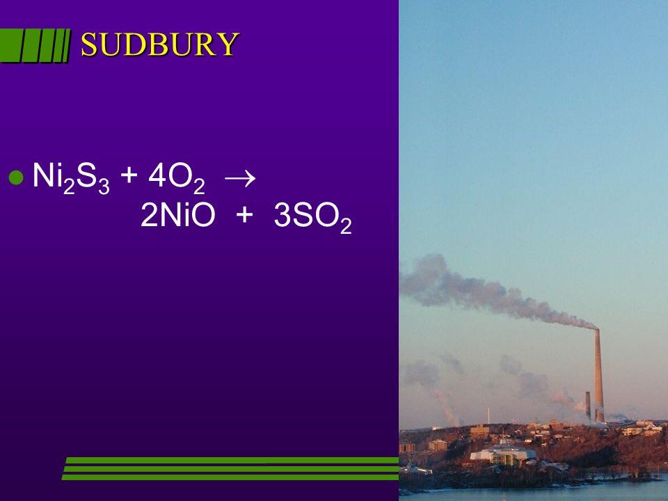 SUDBURY l Ni 2 S 3 + 4O 2 2NiO + 3SO 2